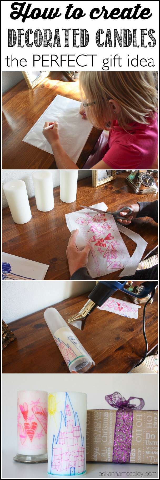 A simple tutorial showing you how to create your own decorated candles. This is a perfect gift idea for grandmas, teachers or friends!   Ask Anna