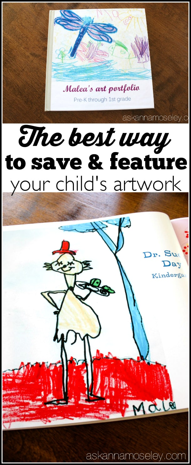 The best way to save, and featrue, your child's artwork. Take years of school artwork, notes, etc. and turn it into a photobook for your coffee table. Your kids will feel so proud and your friends and family will love looking at the pictures. - Ask Anna
