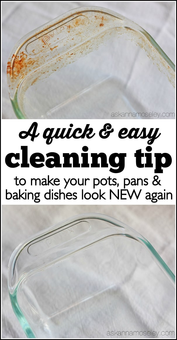 This is a very simple cleaning tip that will help you clean the baked on grease off your pots and pans, and have them looking new again!   Ask Anna