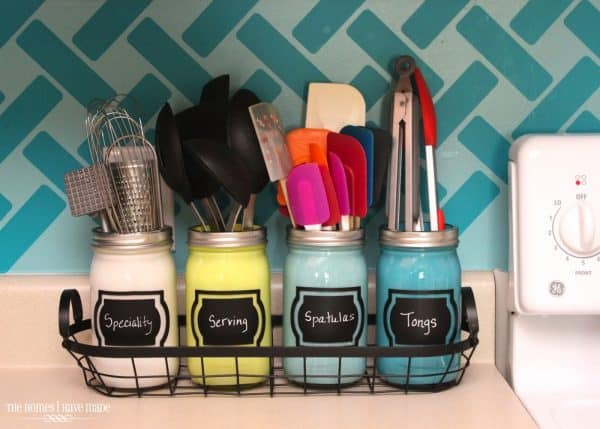 How to organize your utensils in 30 min or less with these fun DIY Mason jar utensil holders | Ask Anna