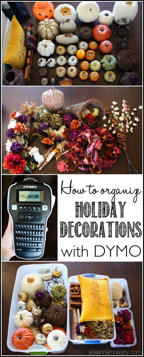Tips for organizing holiday decorations and how to use a label maker to make them easy to find and keep organized | Ask Anna