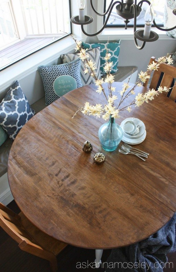 DIY breakfast nook table makeover | Ask Anna