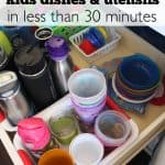 Multiple solutions for how you can organize kids dishes, utensils, etc. in less than 30 minutes | Ask Anna
