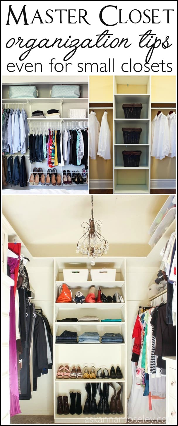 How to organize the master bedroom closet, no matter what the size. Lots of tips for organizing regular-sized closets   Ask Anna