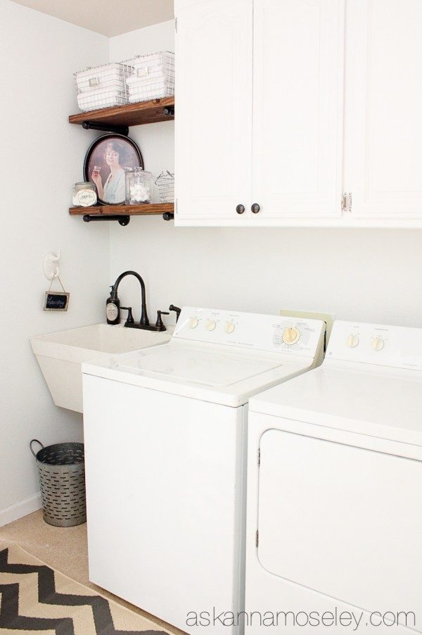 Laundry room makeover with DIY industrial shelves | Ask Anna