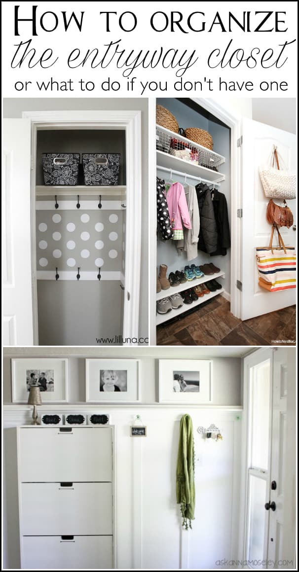 Lots of tips to help you organize the entryway closet in 30 minutes or less   Ask Anna
