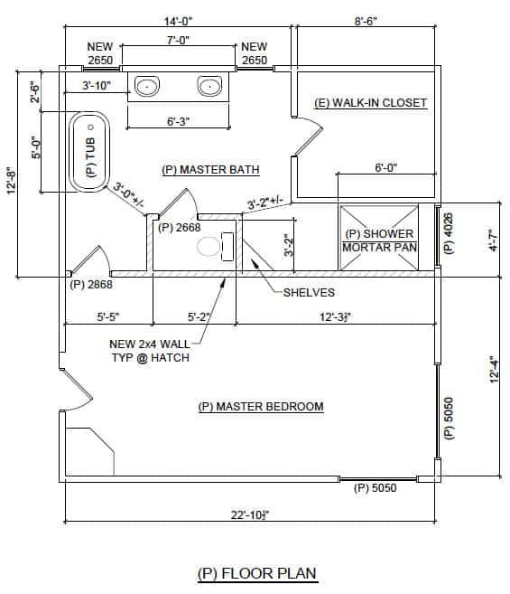 Master bathroom floorplan - after | Ask Anna
