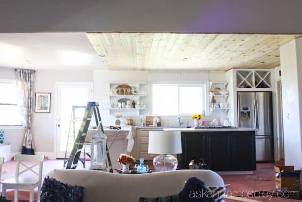 Natural wood ceiling in a kitchen - see the transformation from an outdated light box, to pendants and a beautiful pine wood ceiling | Ask Anna
