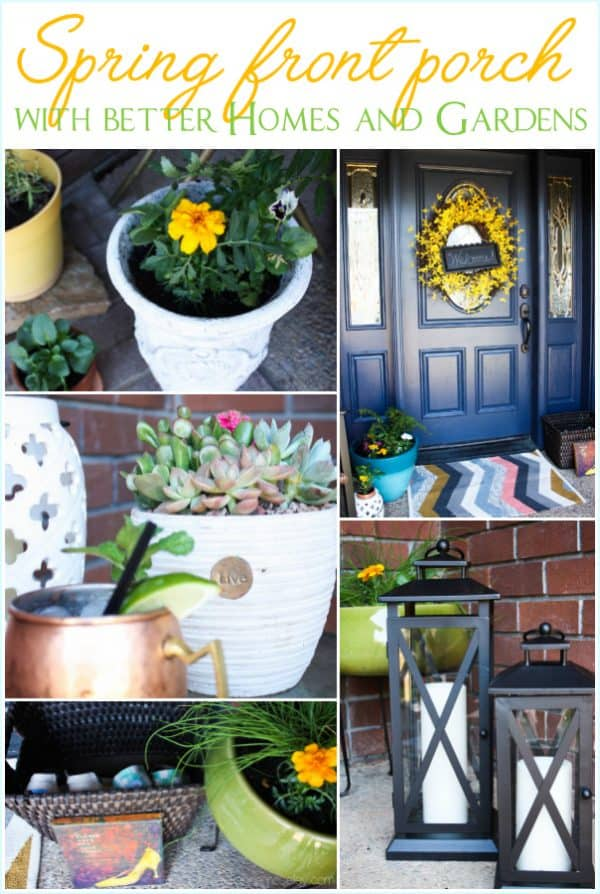 Spring front porch with Better Homes and Gardens - see how to brighten up your front porch on a budget | Ask Anna