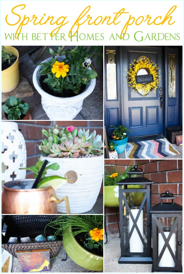 Spring front porch with Better Homes and Gardens - see how to brighten up your front porch on a budget   Ask Anna