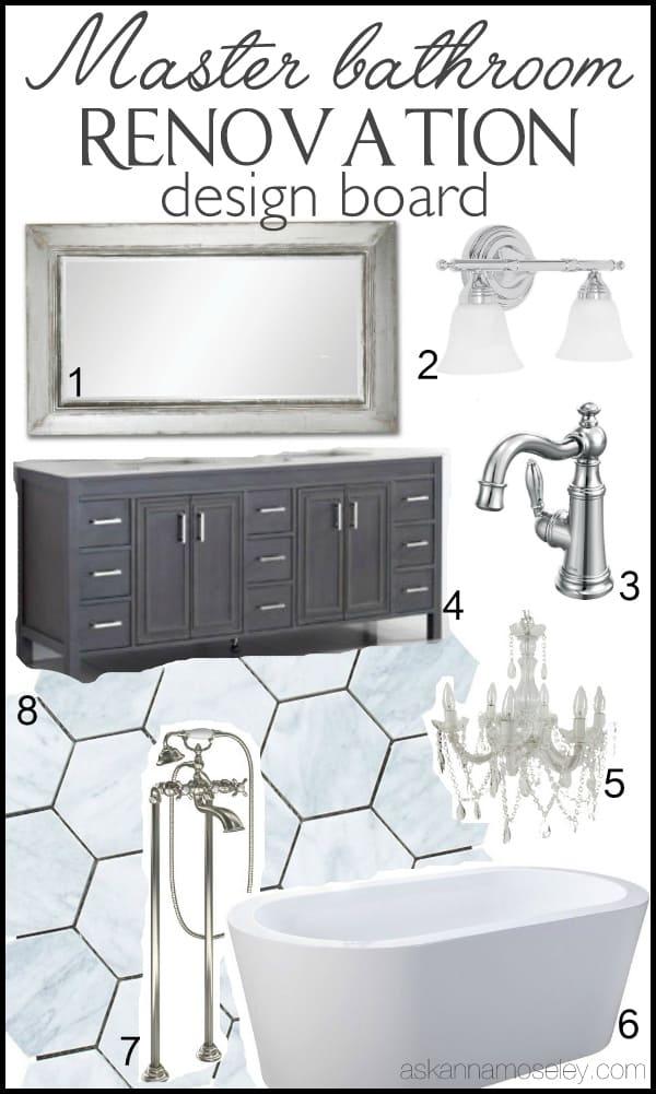 Master bathroom remodel design board   Ask Anna