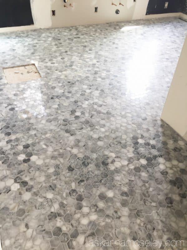 Master bathroom progress - marble hexagon tile from The Tile Shop| Ask Anna