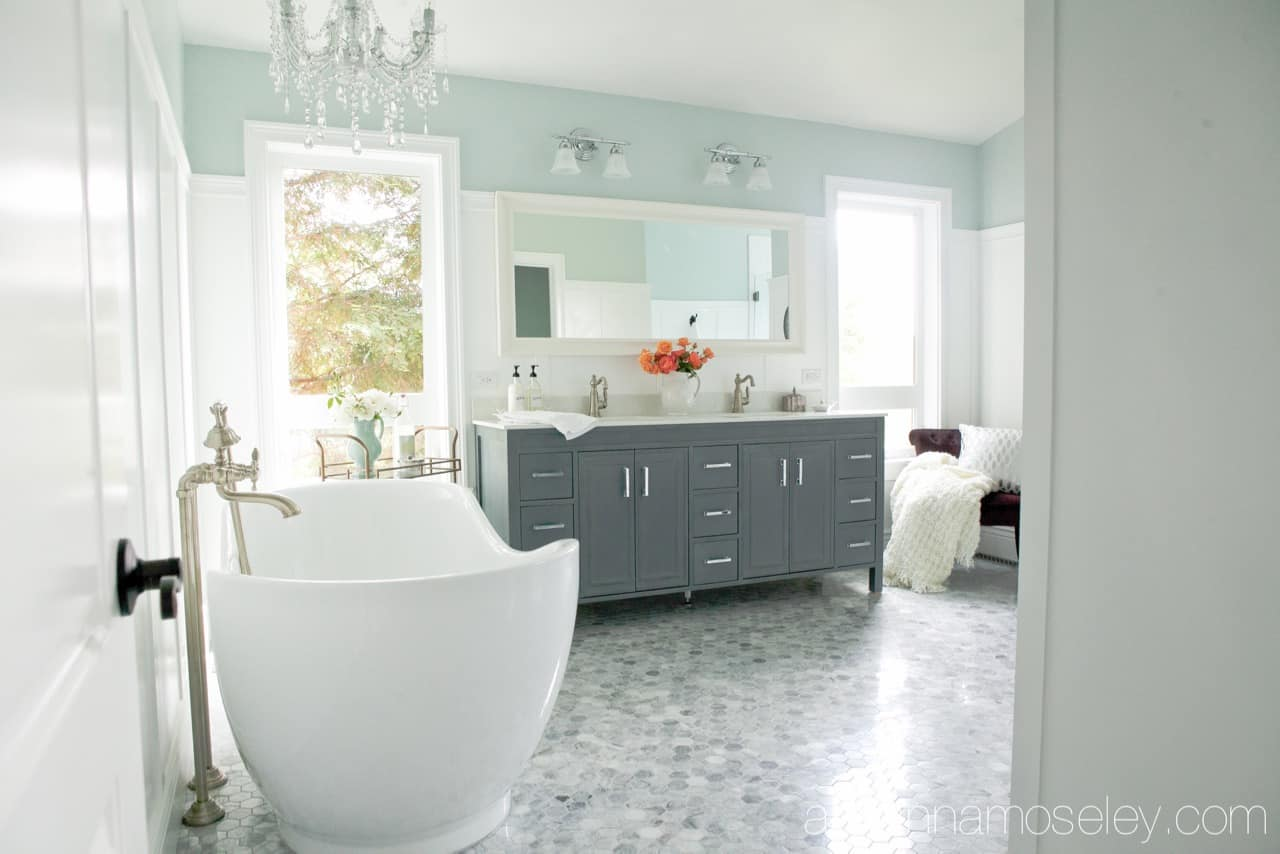 Luxurious, dream master bathroom, with marble floors, soaking tub and a huge shower with a view   Ask Anna