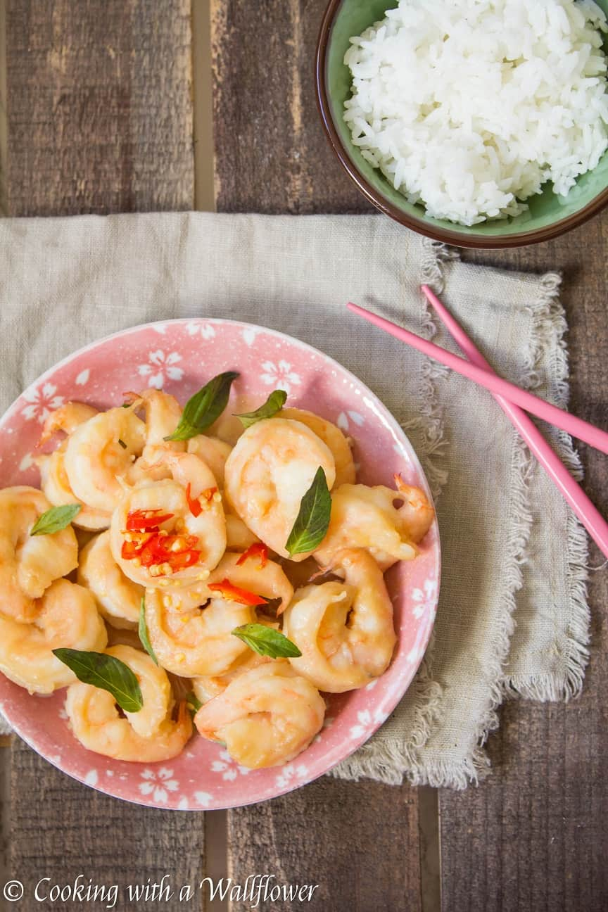 Jumbo shrimp tossed in a savory miso glaze. This miso glazed shrimp is delicious and perfect with rice for a quick and easy dinner   Cooking With a Wallflower
