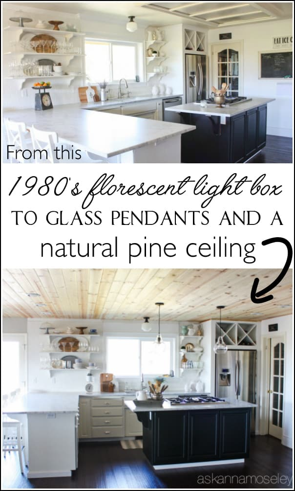 Natural wood ceiling in a kitchen - see the transformation from an outdated light box, to pendants and a beautiful pine wood ceiling   Ask Anna
