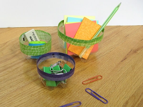 How to make DIY office organizing containers from recycled bottles | Organized 31 for Ask Anna