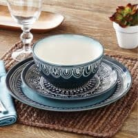 Teal medallion dinnerware set from BHG at Walmart