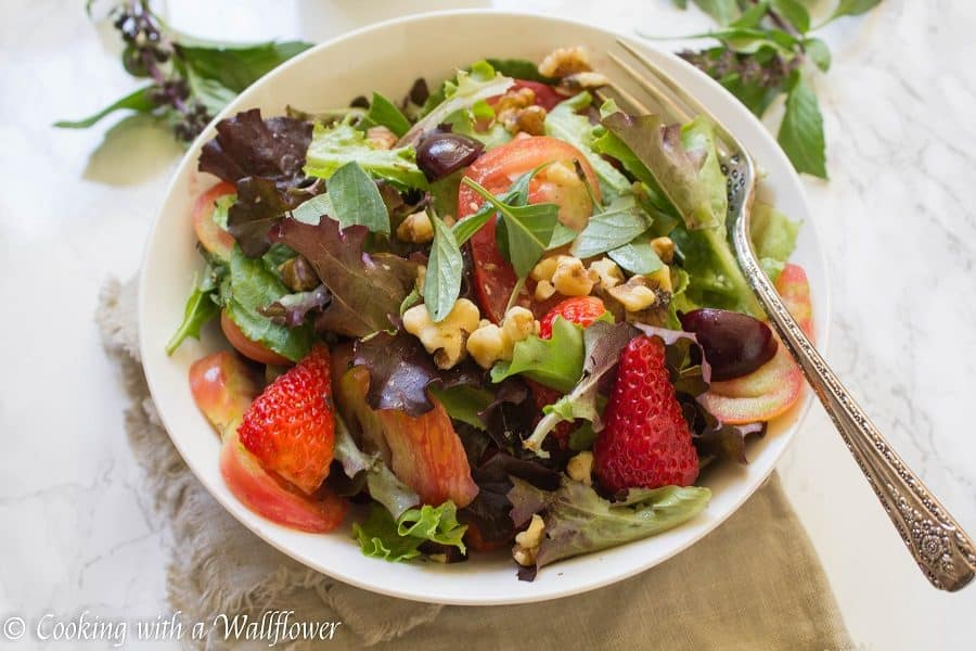 Strawberry Heirloom Tomato Salad - Cooking with a Wallflower