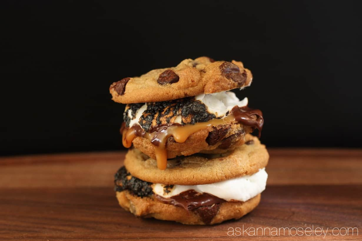 Layers of chocolate chip cookies, rich dark chocolate sea salt caramels & toasted marshmallows will have you going back for more of these gourmet s'mores | Ask Anna