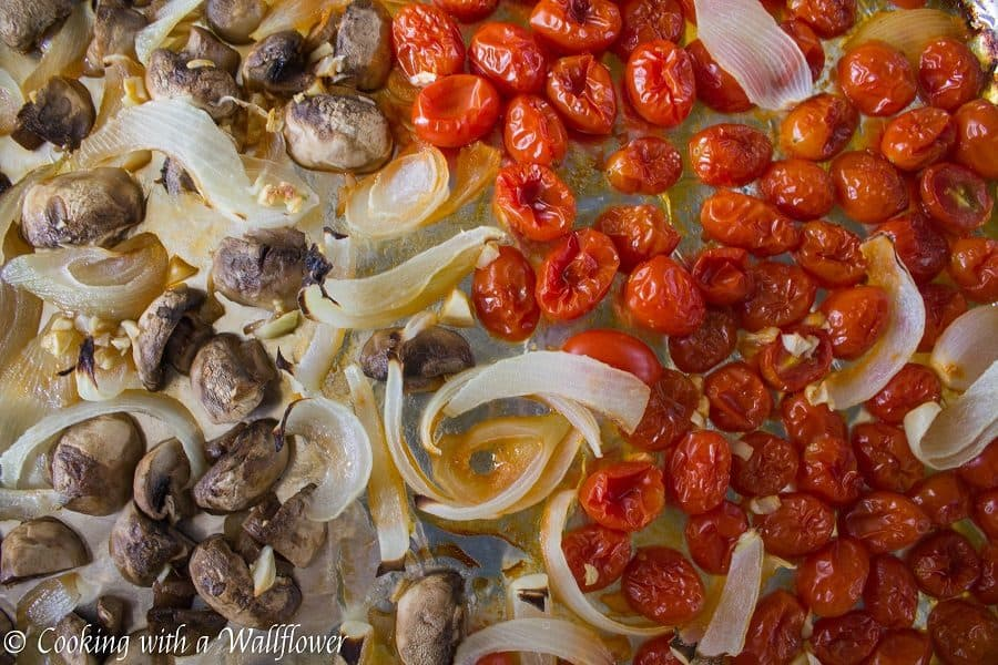 Roasted Mushroom Tomato Pasta with Fresh Herbs - Cooking with a Wallflower