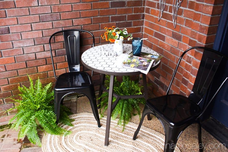 Farmhouse style outdoor area, decorated with Better Homes & Gardens products from Walmart | Ask Anna