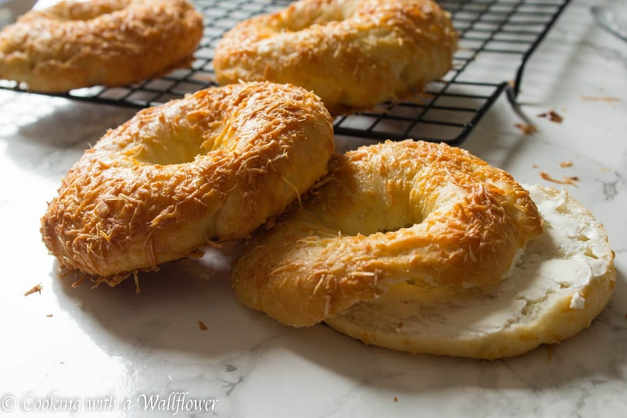 Homemade bagels topped with freshly grated Parmesan cheese, these homemade Parmesan bagels are delicious and easy to make.   Cooking with a Wallflower