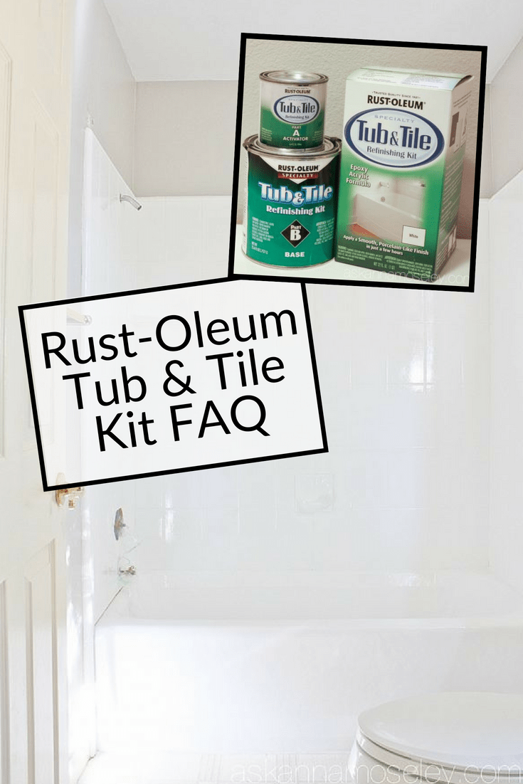 A few years ago I refinished my bathtub with Rust-Oleum Tub and Tile Transformation and received a ton of questions. Now I've answered them all for you on this handy FAQ post! | Ask Anna