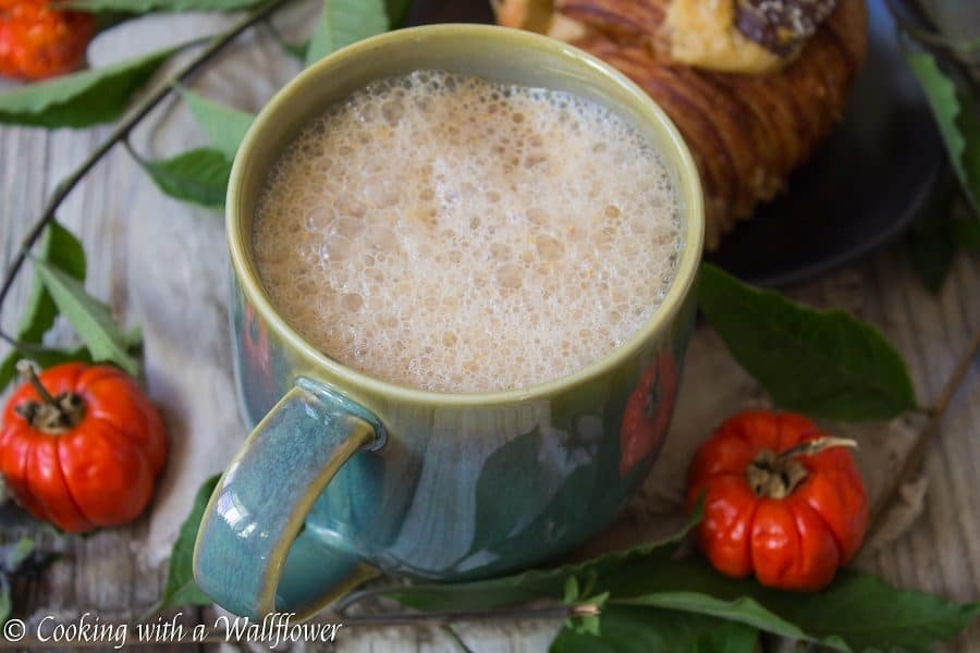 Strongly brewed coffee with some added pumpkin goodness, makes this pumpkin spice latte the perfect Fall pick me up. | Cooking with a Wallflower