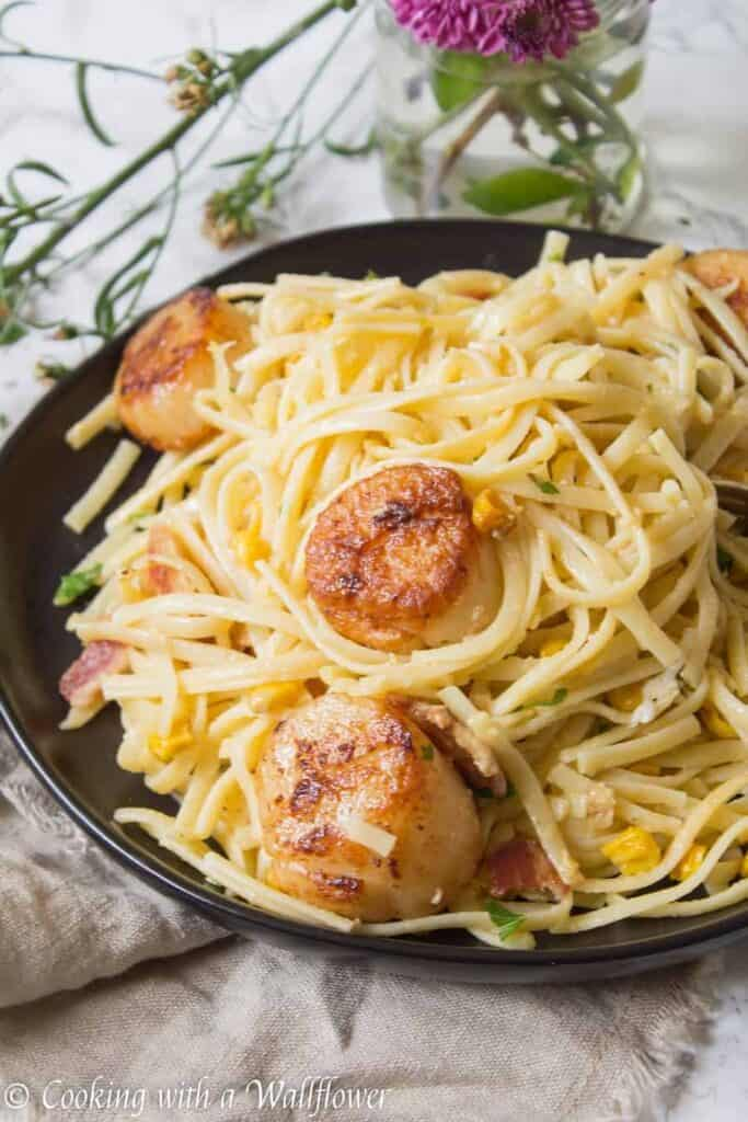 Pan Seared Scallop Pasta Carbonara | Ask Anna