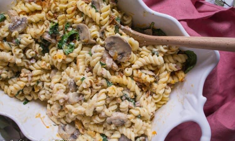 Spinach Mushroom Pancetta Mac and Cheese