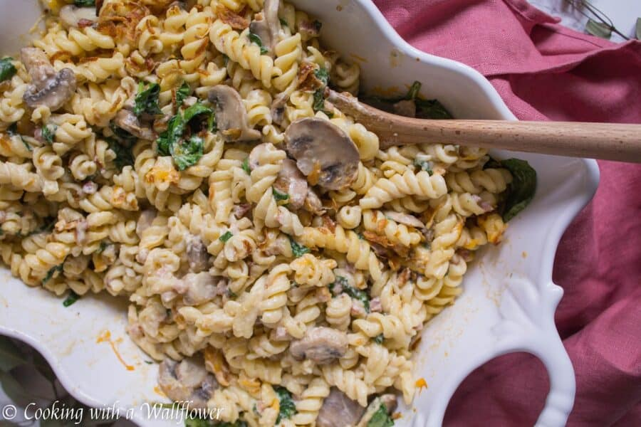 Spinach Mushroom Pancetta Mac and Cheese