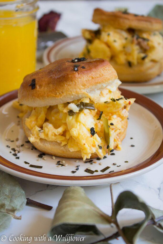 Kimchi Soft Scrambled Egg Biscuit Sandwiches