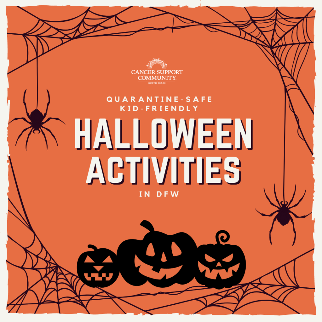 An image with the words quarantine safe Halloween activities that you can do with your kids. Spiderwebs and jack o'lanterns.