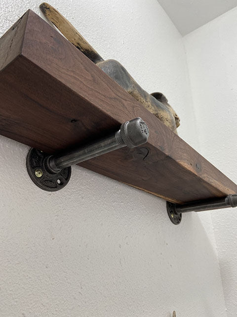 Black walnut floating shelves