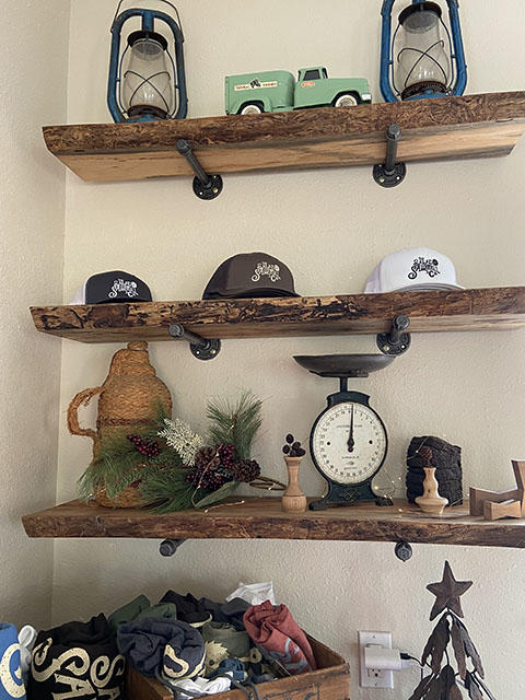 Live edge, spalted pecan floating shelves