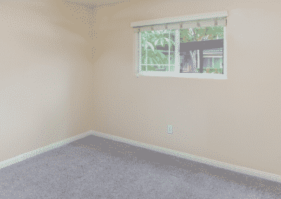 Empty carpeted bedroom with window