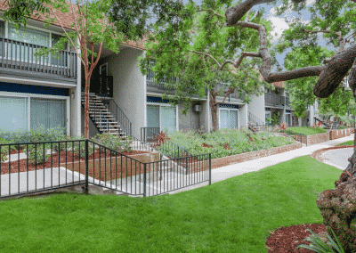 apartment complex landscaping with grass and trees
