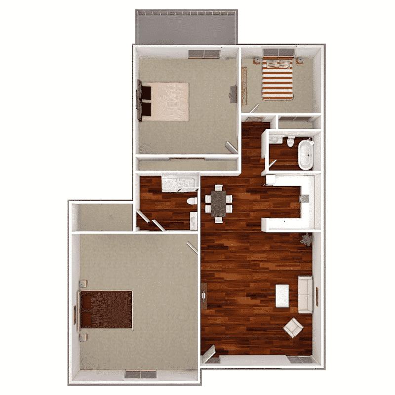 3 bed 2 bath apartment floor plan