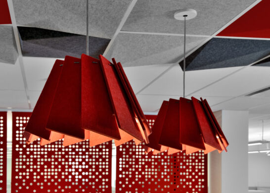 DuPont Canada office - close up of red ceiling lamps
