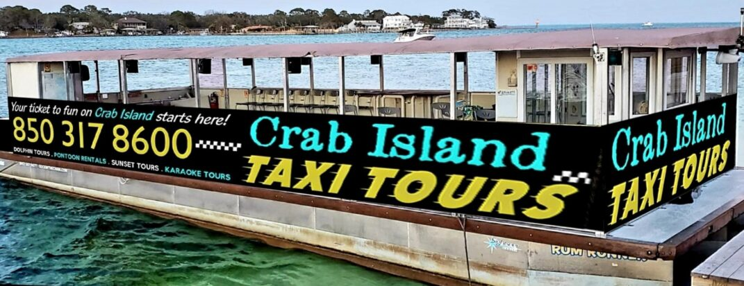 Reef Burgers is a floating restaurant on Crab Island in Destin, Florida