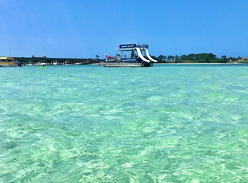 boats in the water at Crab Island, Destin, Florida