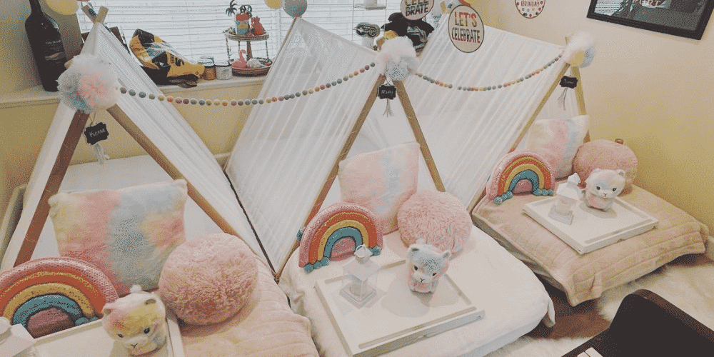 Pink and rainbow slumber party teepees and tents