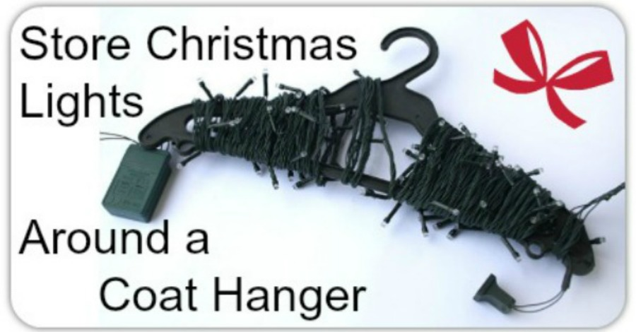 How to Store Christmas Lights Around a Coat Hanger