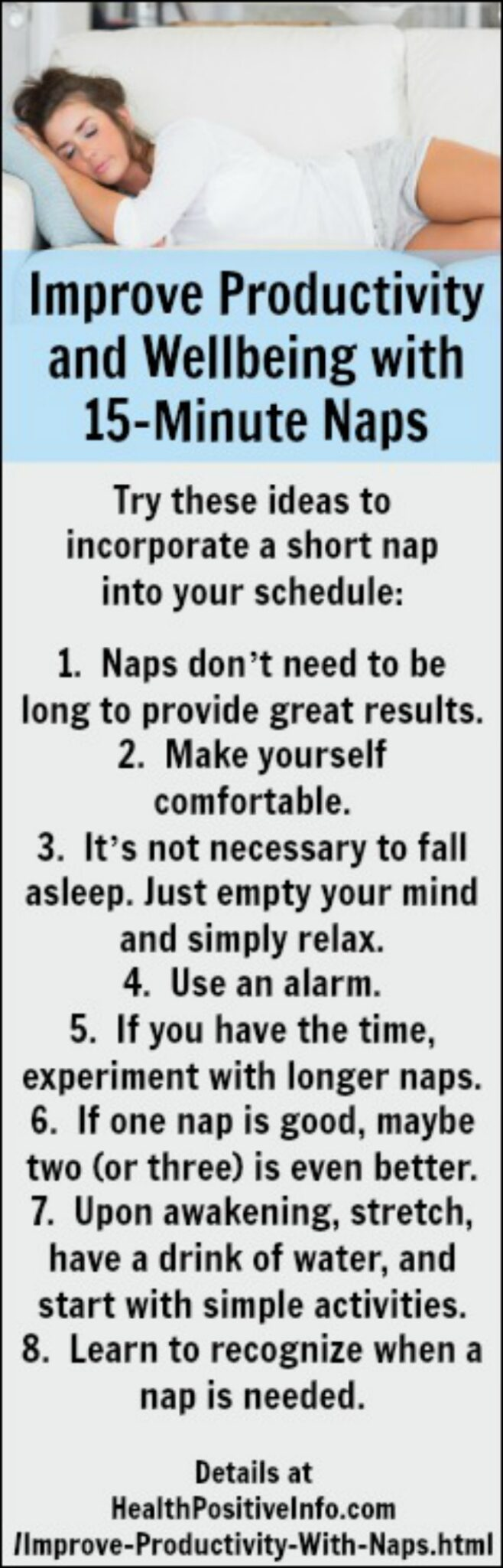 Improve Productivity and Well-being with Power Naps - https://healthpositiveinfo.com/improve-productivity-with-naps.html