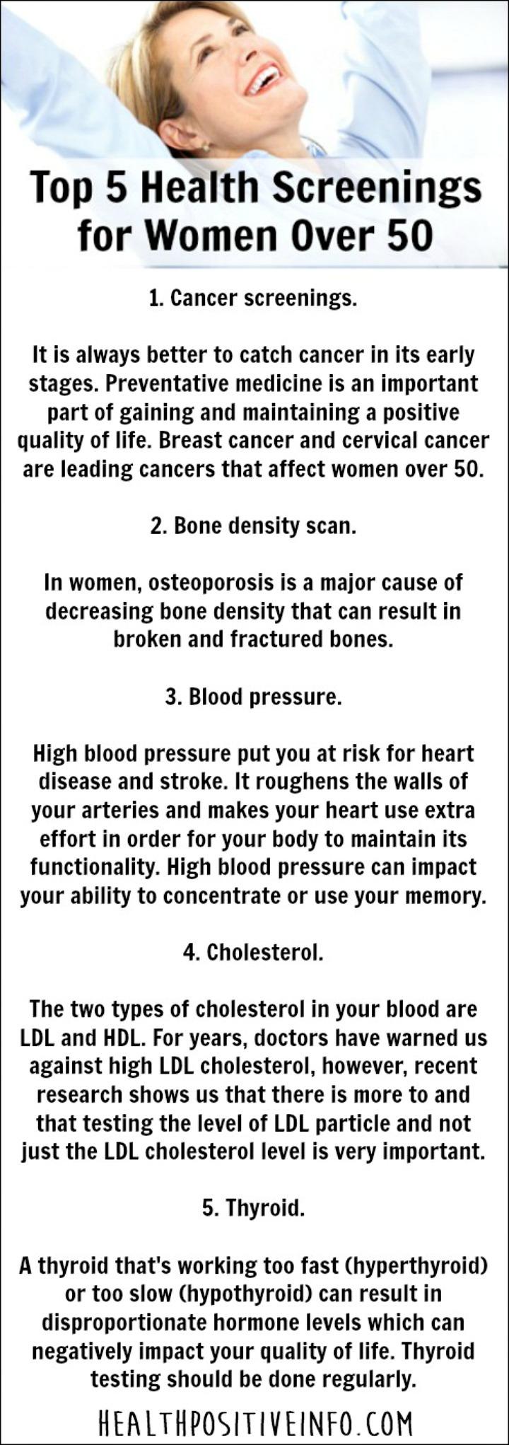 Top 5 Health Screenings for Women Over 50 - https://healthpositiveinfo.com/health-screenings-women-over-50.html