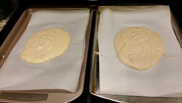 Grain Free Flatbread - Pour prepared mixture onto baking sheets.