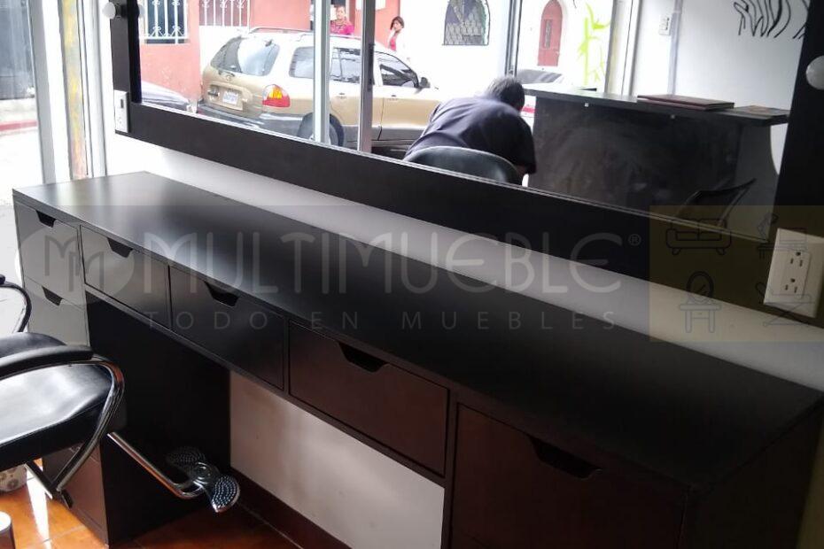 Espejo y mesa con gavetas para salón