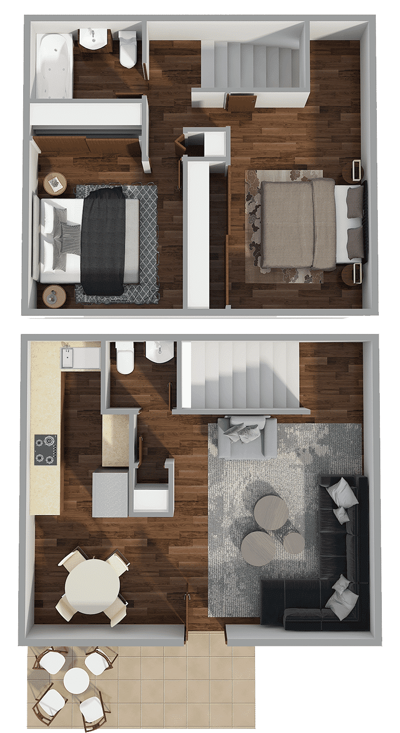 2 bed one and a half bath townhome floor plan