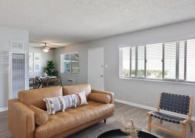 The Circle Apartments Living Room facing the sliding windows