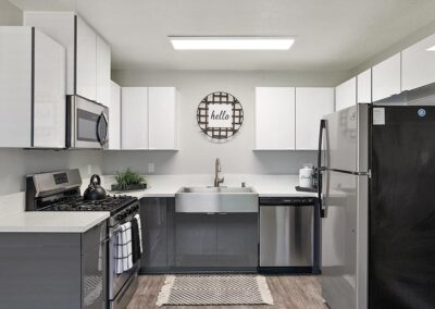 White and gray kitchen with stainless steel appliances and decor